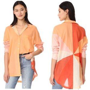 Free People 🌈 Rainbow Rays Oversized Shirt M
